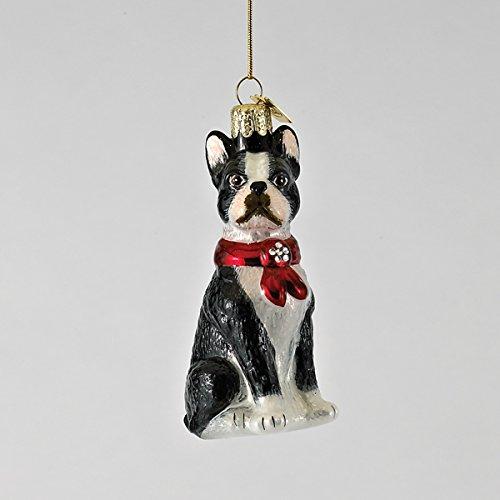 Kurt Adler 3.5″ Noble Gems Glass Boston Terrier Ornament