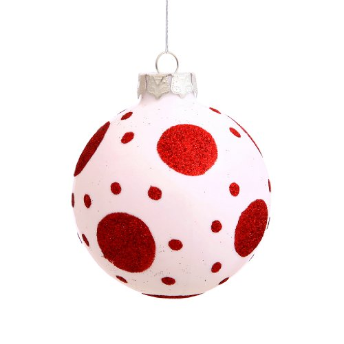 Vickerman 21335 – 3″ White / Red Dot Ball Christmas Tree Ornament (4 pack) (N100711)