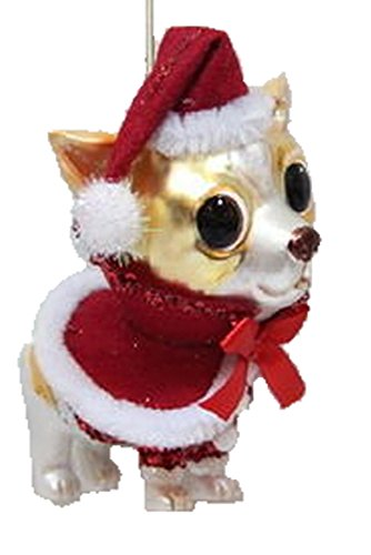 December Diamonds Blown Glass Ornament – Chihuahua in Red Santa Hat and Clothing