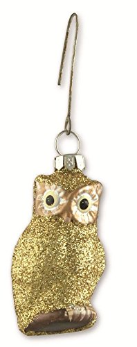 Bethany Lowe Christmas – Pastel Gold Glitter Glass Owl Ornament LG0749 Gold