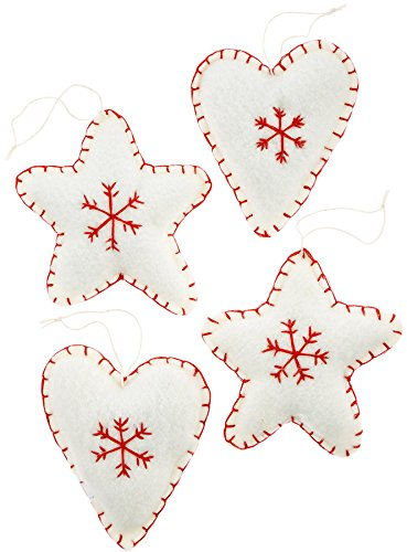 Holiday Lane Set of 4 Fabric Star & Heart Ornaments