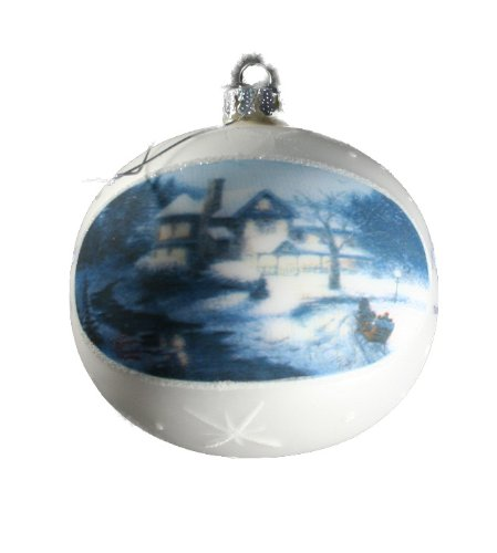 Thomas Kinkade Painter of Light Glass Ball Ornament Moonlit Sleigh Ride 2004