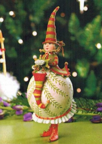 7″ Patience Brewster Krinkles Mrs. Santa with Stocking Christmas Ornament