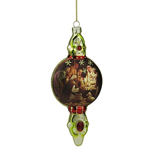 6.5″ Gold and Burgundy Nativity Scene Religious Glass Finial Christmas Ornament
