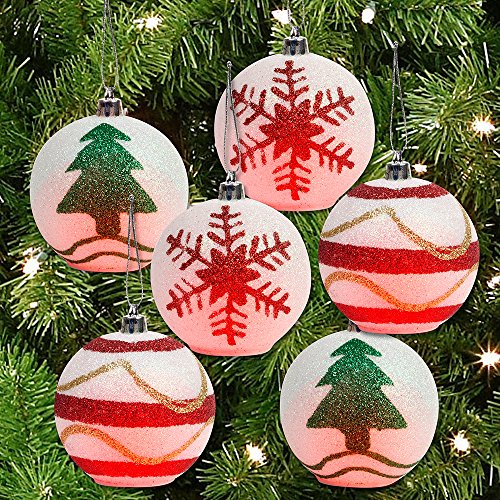 LED Light up Color Changing Glitter Christmas Ornaments- Set of Six