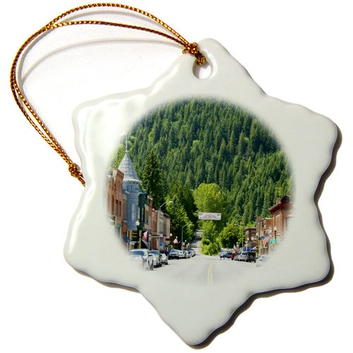 Danita Delimont – Idaho – Main street, old brick buildings, Wallace, Idaho – US13 DFR0713 – David R. Frazier – Ornaments – 3 inch Snowflake Porcelain Ornament (orn_90029_1)