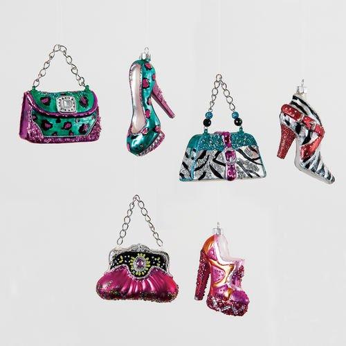 Glitterville High Heel Shoe & Purse Ornaments 6 Assorted – 4.25″
