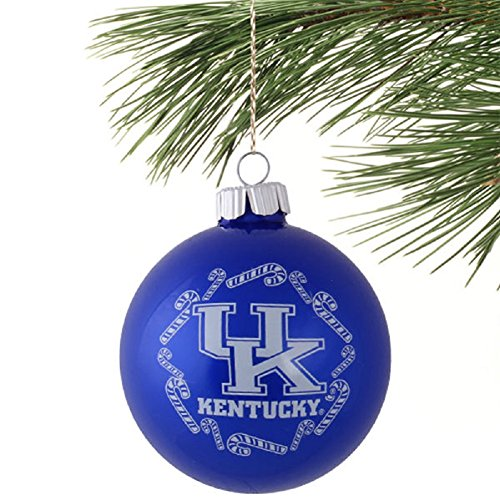 NCAA Candy Cane Traditional Glass Ball Christmas Ornament- 2 5/8″-Kentucky Wildcats