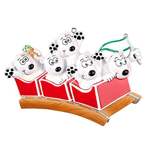 Roller Coaster Family of 5 Personalized Christmas Ornament