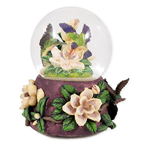 Hummingbirds and Magnolias Glass Musical Snow Globe Plays Song Waltz of the Flowers
