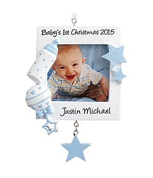 Personalized Baby's 1st Christmas Photo Ornament – Blue
