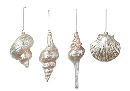 Set of 4 Glass Iridescent Champagne Shell Ornaments