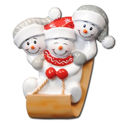 Snowman Family of Three on Sled Personalized Christmas Ornament