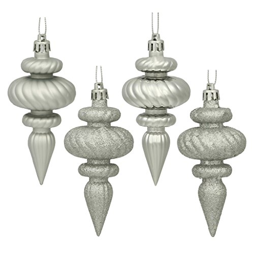 Vickerman 19471 – 4″ Silver Finial Shiny Matte Glitter Sequin Christmas Tree Ornament (8 pack) (N500007)