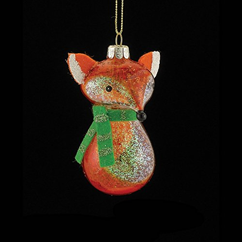 3.5″ Noble Gems Glittered Glass Fox with Scarf Christmas Ornament