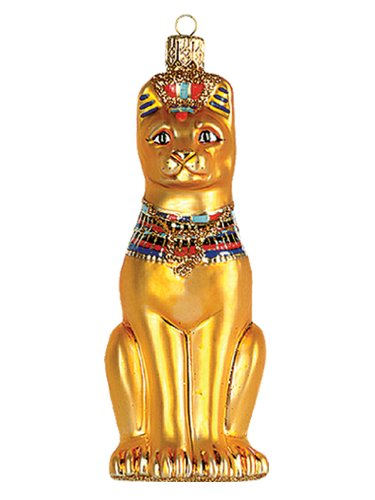 Egyptian Cat Polish Mouth Blown Glass Christmas Nament