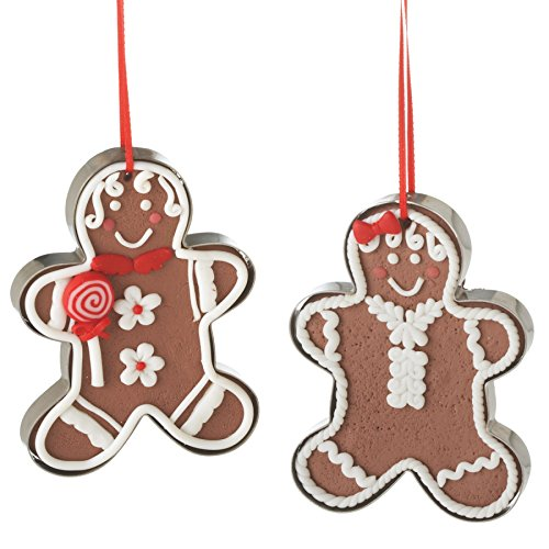 Mr and Mrs Frosted Gingerbread Man in Cookie Cutters Resin Stone Christmas Tree Ornament