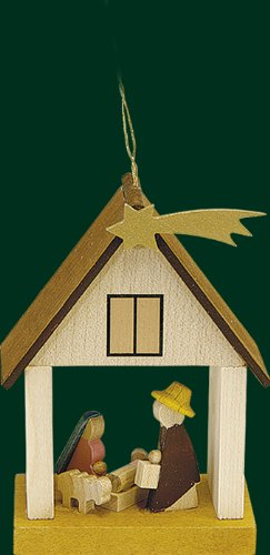 Hanging Christmas Tree House Shaped Ornament Holy Family, 3.8 Inches