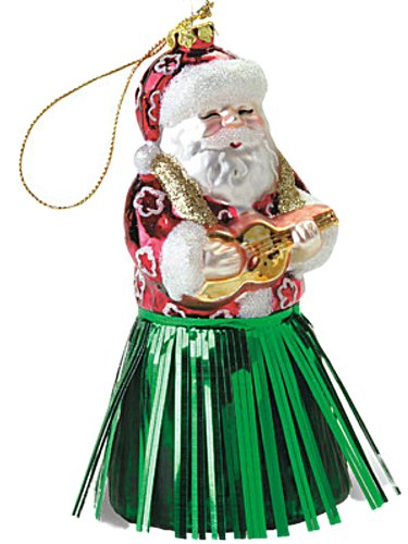 HAWAIIAN HULA SANTA W/ UKE GLASS CHRISTMAS ORNAMENT