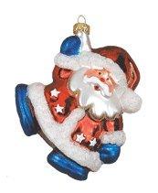 Margaret Cobane Glass Ornament – Red, White & Blue Santa