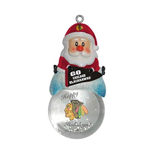 NHL Chicago Blackhawks Snow Globe Ornament, Silver, 1.5″