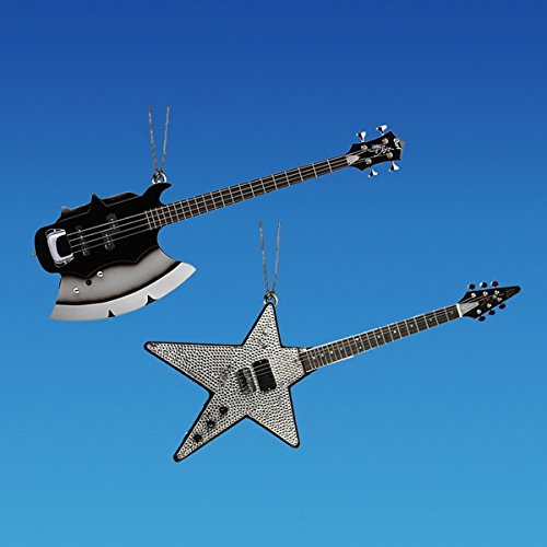 Kurt Adler Kiss Guitar Ornament Set OF 2