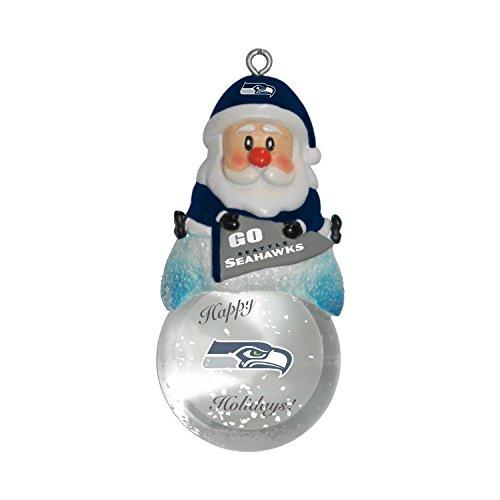 NFL Seattle Seahawks Snow Globe Ornament, Silver, 1.5″