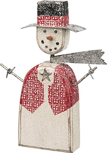 Primitives by Kathy Decorative Red Vest Snowman