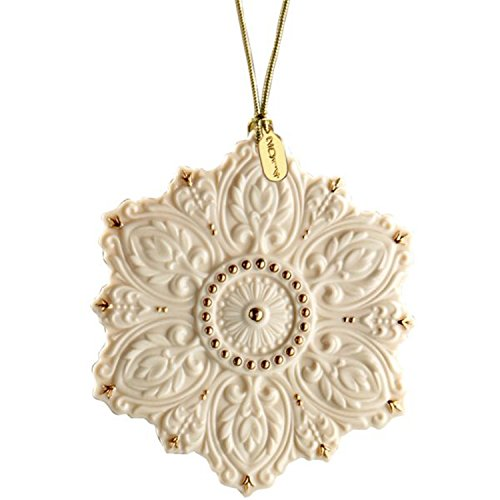 Lenox Christmas 125th Anniversary Snowflake Ornament Ivory China Gold Accent Bas-Releif