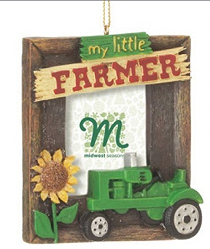 "Green ""My Little Farmer"" Tractor Christmas Photo Frame Ornament"