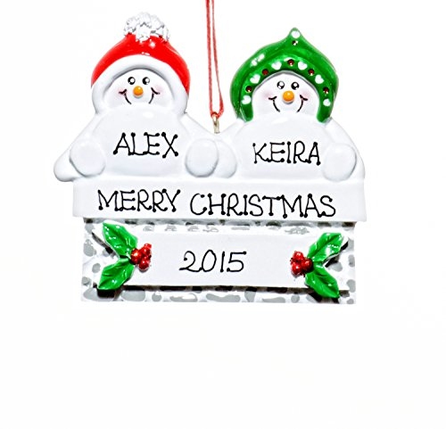 Couple Christmas Holiday Snowmen on Mantle Ornament-Free Name Personalized-Shipped In One Day