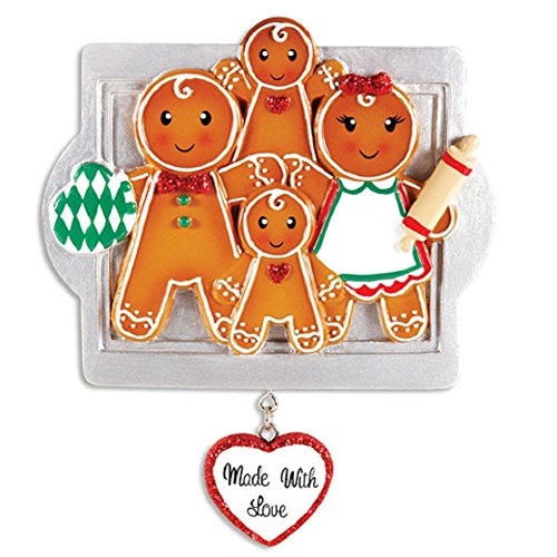 Gingerbread Family of Four on Tray Personalized Christmas Ornament