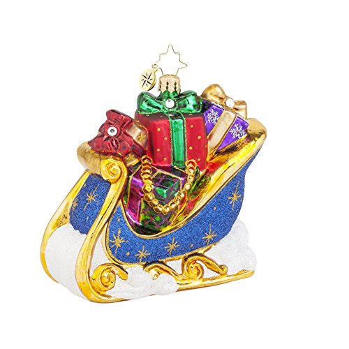 Christopher Radko the Giving Sleigh Glass Christmas Ornament