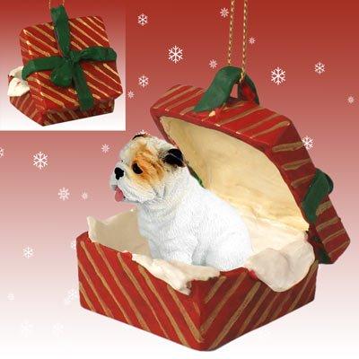Conversation Concepts Bulldog White Gift Box Red Ornament