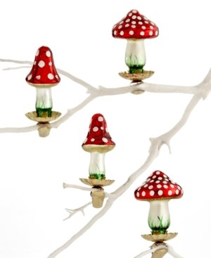 Holiday Lane Box of 4 Mini Mushroom Ornaments