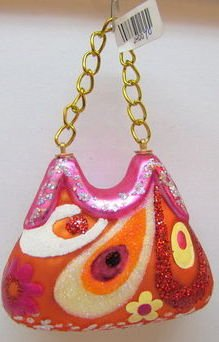 December Diamonds 3 inch 60's Mod Hot Pink Glass Purse Ornament on Gold Link Chain. Hand Painted with Glitter Accents.
