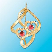 24K Gold Twin Hearts Spiral Ornament – Red Swarovski Crystal