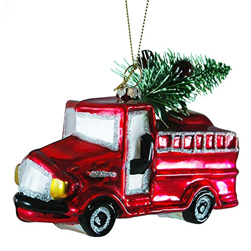 Glass Fire Truck Hanging Christmas Tree Ornament
