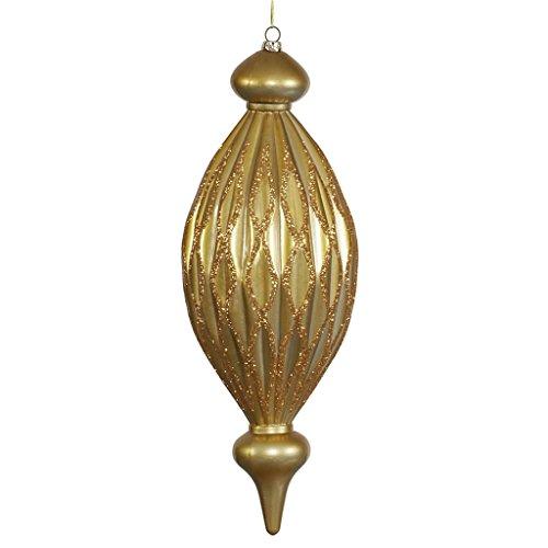 Vickerman 34229 – 12″ Antique Gold Candy Glitter Diamond Finial Christmas Tree Ornament (M145816)