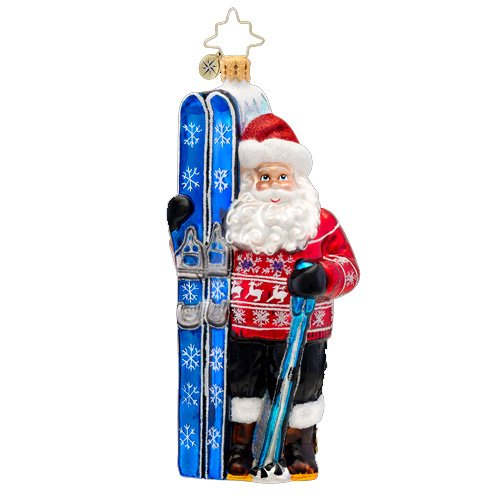Christopher Radko Glass Hitting the Slopes Nordic Santa Claus Christmas Ornament #1017105