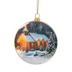 Enesco Thomas Kincaid Painter of Light Christmas Chapel Ornament, 3.875-Inch
