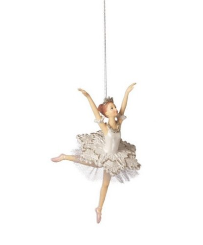 Snow Princess Ballerinas Both Arms up Resin Ornaments