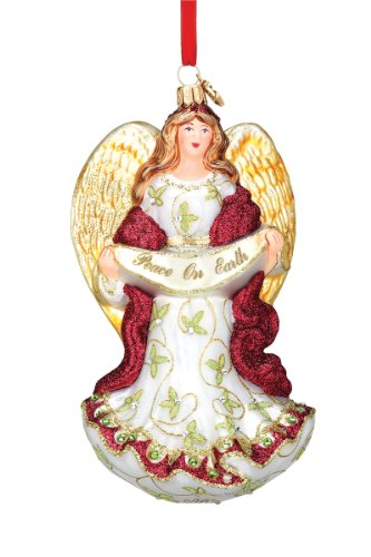 Reed & Barton European Glass Blown Peace on Earth Angel Ornament with Artist Signature, Height 6.3