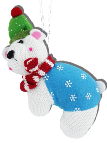 White Knit Polar Bear Christmas Ornaments with Felt Accents, Crafted Charm Collection (Set of 4)