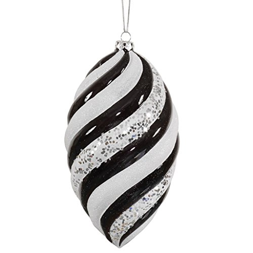 Vickerman 34091 – 8″ Black / White Glitter Swirl Drop Christmas Tree Ornament (M113077)
