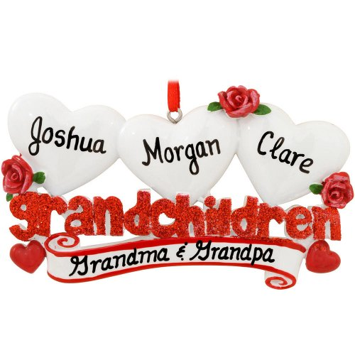 Grandchildren with 3 Hearts Personalized Christmas Tree Ornament
