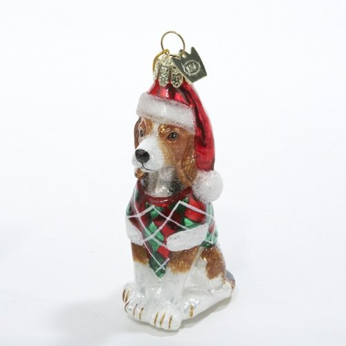 Kurt Adler Noble Gems Beagle Glass Christmas Ornament