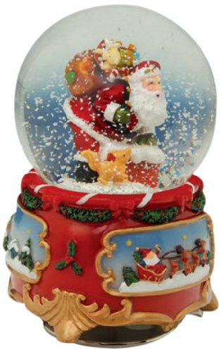 "MusicBox Kingdom 52037 Snow Globe Santa Claus Music Box, Turns to The Melody ""Santa Claus is Coming to Town"""
