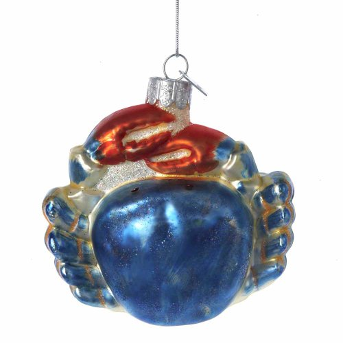 Kurt Adler Noble Gems Glass Blue Crab Ornament, 3.25-Inch