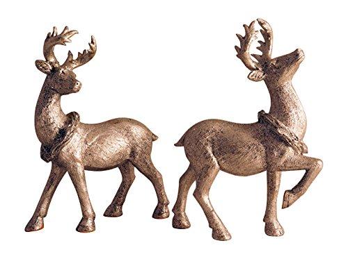 Set of 2 Silver Glittered Standing Deer Elegant Holiday Figures